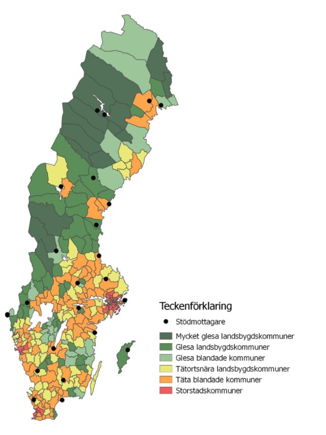 Karta över beviljade projekt inom småskalig infrastruktur