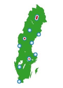 Karta över vart i landet projekten är belägna.