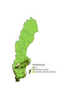 Karta över var miljöersättning för vallgröda söks