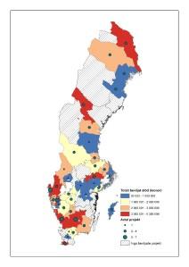 Karta över beviljade projekt inom åtgärder för lokalt ledd utveckling