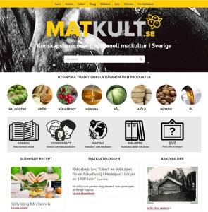 En bild på hemsidan matkult.se som är en kunskapsbank över traditionell matkultur i Sverige