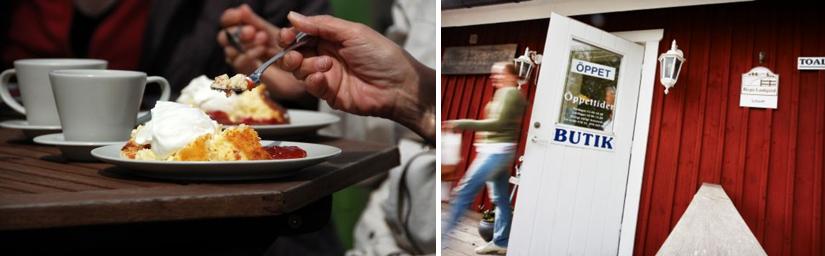 Två foton. Ett foto visar en närbild på två kaffekoppar ostkaka på två fat. Det andra fotot visar en öppen dörr till en gårdsbutik.
